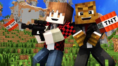 TNT SHOTGUN MOD vs 50 Fans | Minecraft - Modded Fan Battle