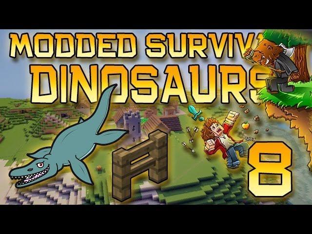 Minecraft: Modded Dinosaur Survival Let's Play w/Mitch! Ep. 8 - BIG FENCE EPISODE!