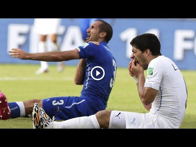 Luis Suárez - Banned for biting Chiellini