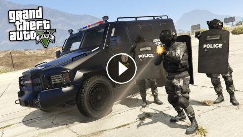GTA 5 PLAY AS A COP MOD - SWAT w/ RIOT SHIELDS TAKEOVER