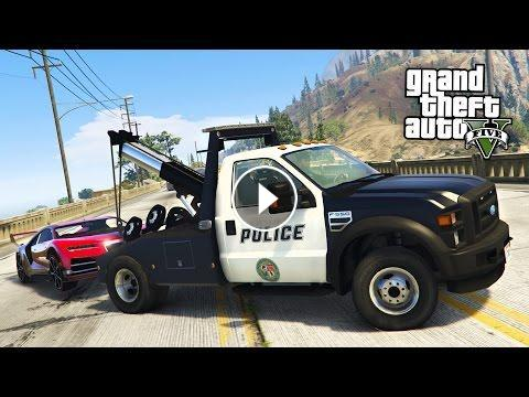 GTA 5 Mods - PLAY AS A COP MOD!! GTA 5 Police Tow Truck Towing ...
