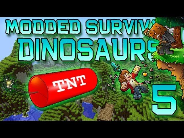 Minecraft: Modded Dinosaur Survival Let's Play w/Mitch! Ep. 5 - TNT RENOVATIONS!
